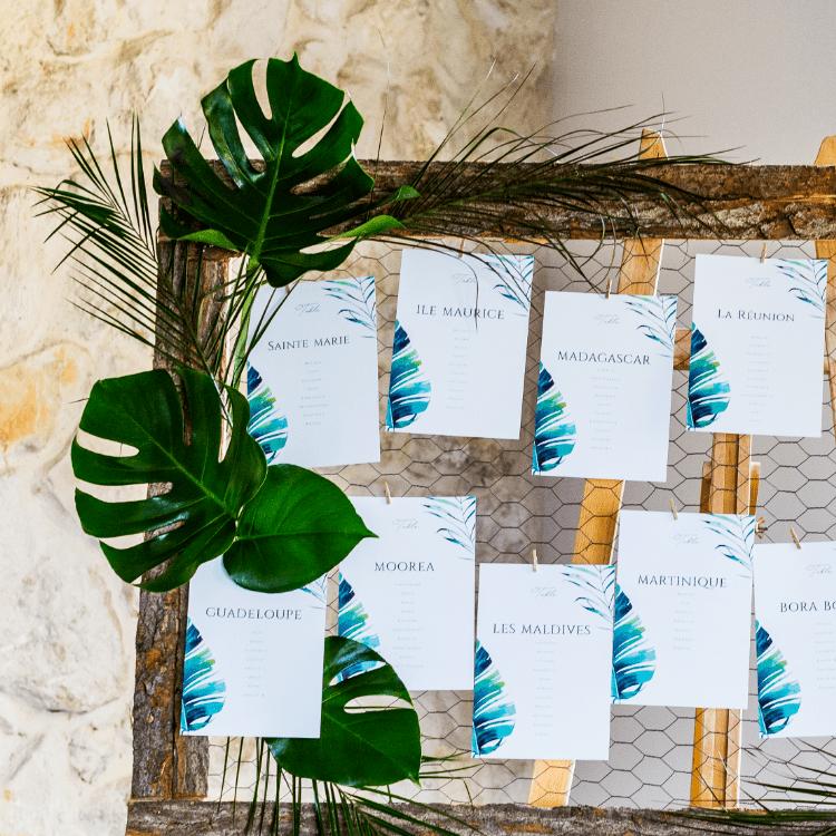 plan-table-panneau-decoration-tropical-nature-fleurs-mariage-bordeaux-lpfloraldesigner